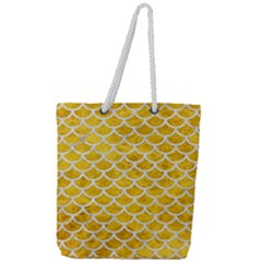 Scales1 White Marble & Yellow Marble Full Print Rope Handle Tote (large) by trendistuff