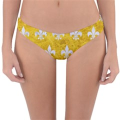 Royal1 White Marble & Yellow Marble (r) Reversible Hipster Bikini Bottoms by trendistuff