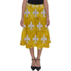 Royal1 White Marble & Yellow Marble (r) Perfect Length Midi Skirt by trendistuff