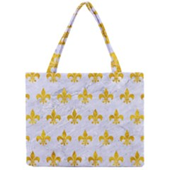Royal1 White Marble & Yellow Marble Mini Tote Bag by trendistuff