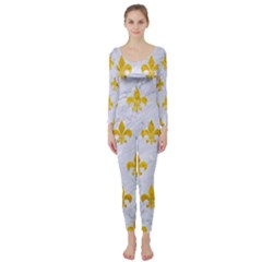 Royal1 White Marble & Yellow Marble Long Sleeve Catsuit by trendistuff