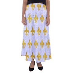 Royal1 White Marble & Yellow Marble Flared Maxi Skirt