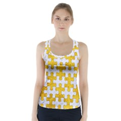 Puzzle1 White Marble & Yellow Marble Racer Back Sports Top by trendistuff