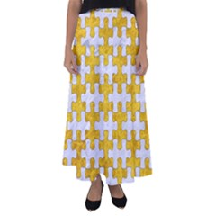Puzzle1 White Marble & Yellow Marble Flared Maxi Skirt by trendistuff
