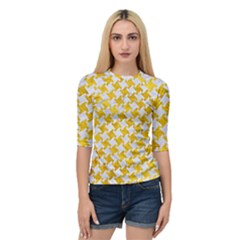 Houndstooth2 White Marble & Yellow Marble Quarter Sleeve Raglan Tee by trendistuff