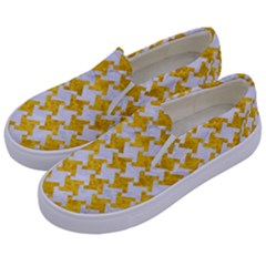 Houndstooth2 White Marble & Yellow Marble Kids  Canvas Slip Ons by trendistuff