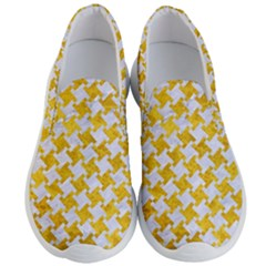 Houndstooth2 White Marble & Yellow Marble Men s Lightweight Slip Ons
