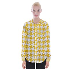 Houndstooth1 White Marble & Yellow Marble Womens Long Sleeve Shirt by trendistuff
