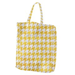 Houndstooth1 White Marble & Yellow Marble Giant Grocery Zipper Tote by trendistuff