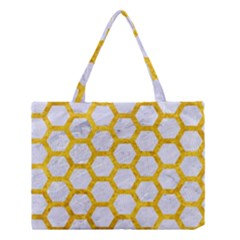 Hexagon2 White Marble & Yellow Marble (r) Medium Tote Bag by trendistuff