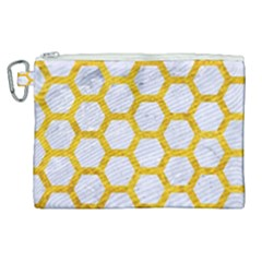 Hexagon2 White Marble & Yellow Marble (r) Canvas Cosmetic Bag (xl)