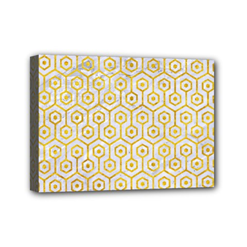 Hexagon1 White Marble & Yellow Marble (r) Mini Canvas 7  X 5