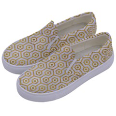 Hexagon1 White Marble & Yellow Marble (r) Kids  Canvas Slip Ons by trendistuff