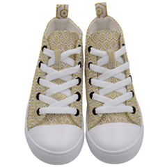 Hexagon1 White Marble & Yellow Marble (r) Kid s Mid Top Canvas Sneakers