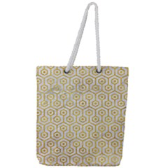 Hexagon1 White Marble & Yellow Marble (r) Full Print Rope Handle Tote (large) by trendistuff