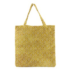 Hexagon1 White Marble & Yellow Marble Grocery Tote Bag by trendistuff