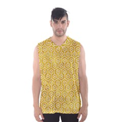 Hexagon1 White Marble & Yellow Marble Men s Basketball Tank Top by trendistuff