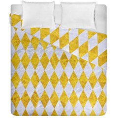 Diamond1 White Marble & Yellow Marble Duvet Cover Double Side (california King Size) by trendistuff