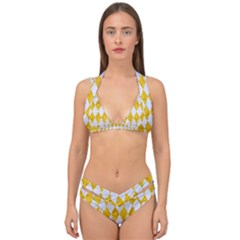 Diamond1 White Marble & Yellow Marble Double Strap Halter Bikini Set by trendistuff