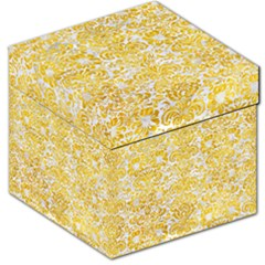 Damask2 White Marble & Yellow Marble (r) Storage Stool 12   by trendistuff