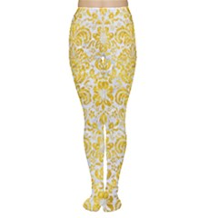 Damask2 White Marble & Yellow Marble (r) Women s Tights by trendistuff