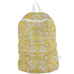 Damask2 White Marble & Yellow Marble (r) Foldable Lightweight Backpack