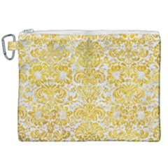 Damask2 White Marble & Yellow Marble (r) Canvas Cosmetic Bag (xxl)