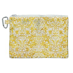 Damask2 White Marble & Yellow Marble Canvas Cosmetic Bag (xl) by trendistuff