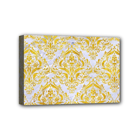 Damask1 White Marble & Yellow Marble (r) Mini Canvas 6  X 4