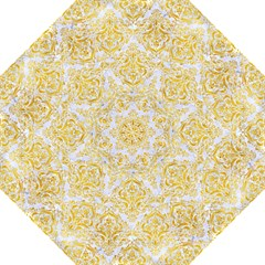 Damask1 White Marble & Yellow Marble (r) Folding Umbrellas by trendistuff