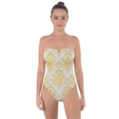 Damask1 White Marble & Yellow Marble (r) Tie Back One Piece Swimsuit