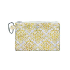 Damask1 White Marble & Yellow Marble (r) Canvas Cosmetic Bag (small) by trendistuff