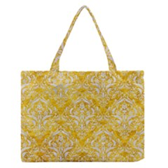 Damask1 White Marble & Yellow Marble Zipper Medium Tote Bag by trendistuff