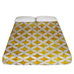 Circles3 White Marble & Yellow Marble Fitted Sheet (queen Size) by trendistuff