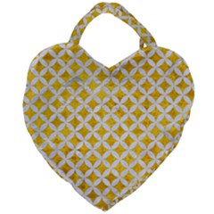 Circles3 White Marble & Yellow Marble Giant Heart Shaped Tote by trendistuff