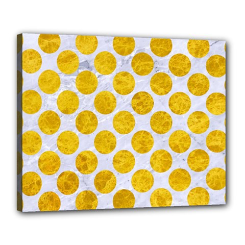 Circles2 White Marble & Yellow Marble (r) Canvas 20  X 16  by trendistuff