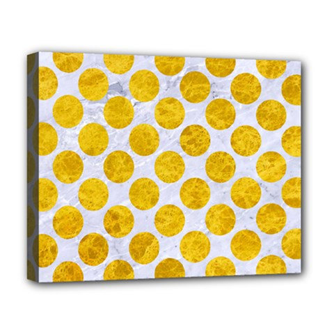 Circles2 White Marble & Yellow Marble (r) Deluxe Canvas 20  X 16   by trendistuff