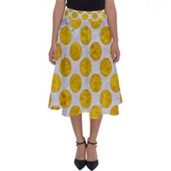 Circles2 White Marble & Yellow Marble (r) Perfect Length Midi Skirt by trendistuff