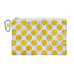 Circles2 White Marble & Yellow Marble (r) Canvas Cosmetic Bag (large) by trendistuff