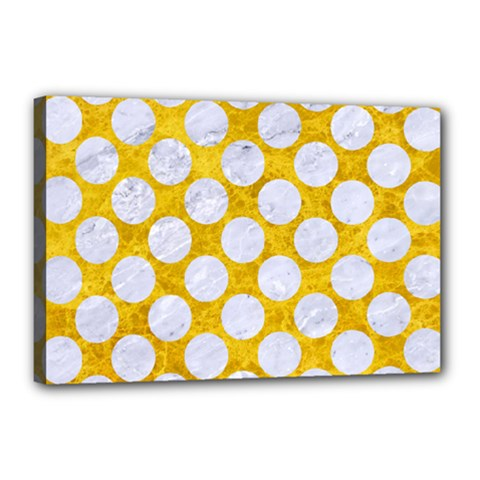 Circles2 White Marble & Yellow Marble Canvas 18  X 12  by trendistuff