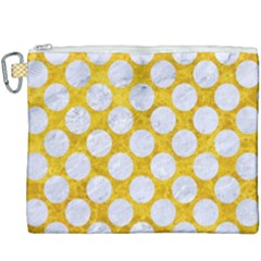 Circles2 White Marble & Yellow Marble Canvas Cosmetic Bag (xxxl)