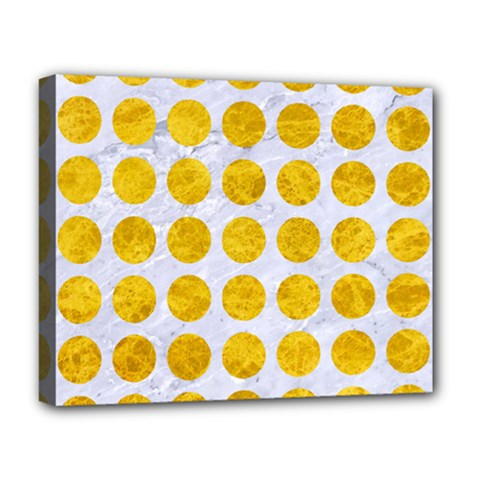 Circles1 White Marble & Yellow Marble (r) Deluxe Canvas 20  X 16   by trendistuff