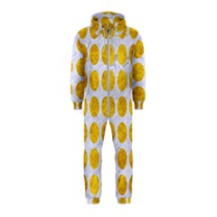 Circles1 White Marble & Yellow Marble (r) Hooded Jumpsuit (kids)