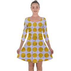 Circles1 White Marble & Yellow Marble (r) Quarter Sleeve Skater Dress