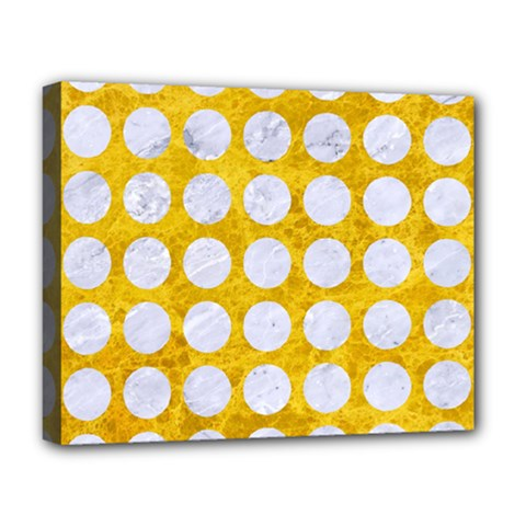 Circles1 White Marble & Yellow Marble Deluxe Canvas 20  X 16   by trendistuff