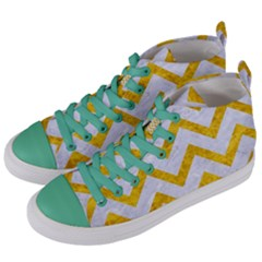 Chevron9 White Marble & Yellow Marble (r) Women s Mid Top Canvas Sneakers by trendistuff