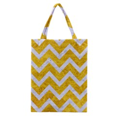 Chevron9 White Marble & Yellow Marble Classic Tote Bag by trendistuff