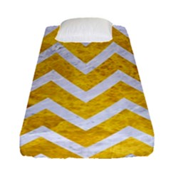 Chevron9 White Marble & Yellow Marble Fitted Sheet (single Size)