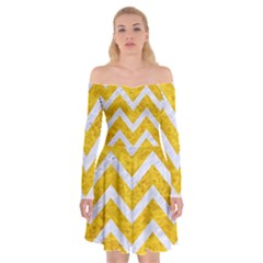 Chevron9 White Marble & Yellow Marble Off Shoulder Skater Dress
