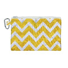Chevron9 White Marble & Yellow Marble Canvas Cosmetic Bag (large) by trendistuff